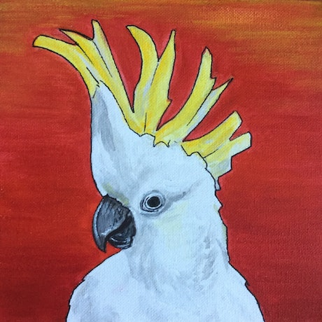 (CreativeWork) Sulphur Crested Cockatoos in sunset. by Helen Pilkington. Mixed Media. Shop online at Bluethumb.