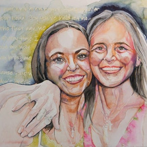 (CreativeWork) Besties - Two generations by Wilna ten Cate. watercolour. Shop online at Bluethumb.