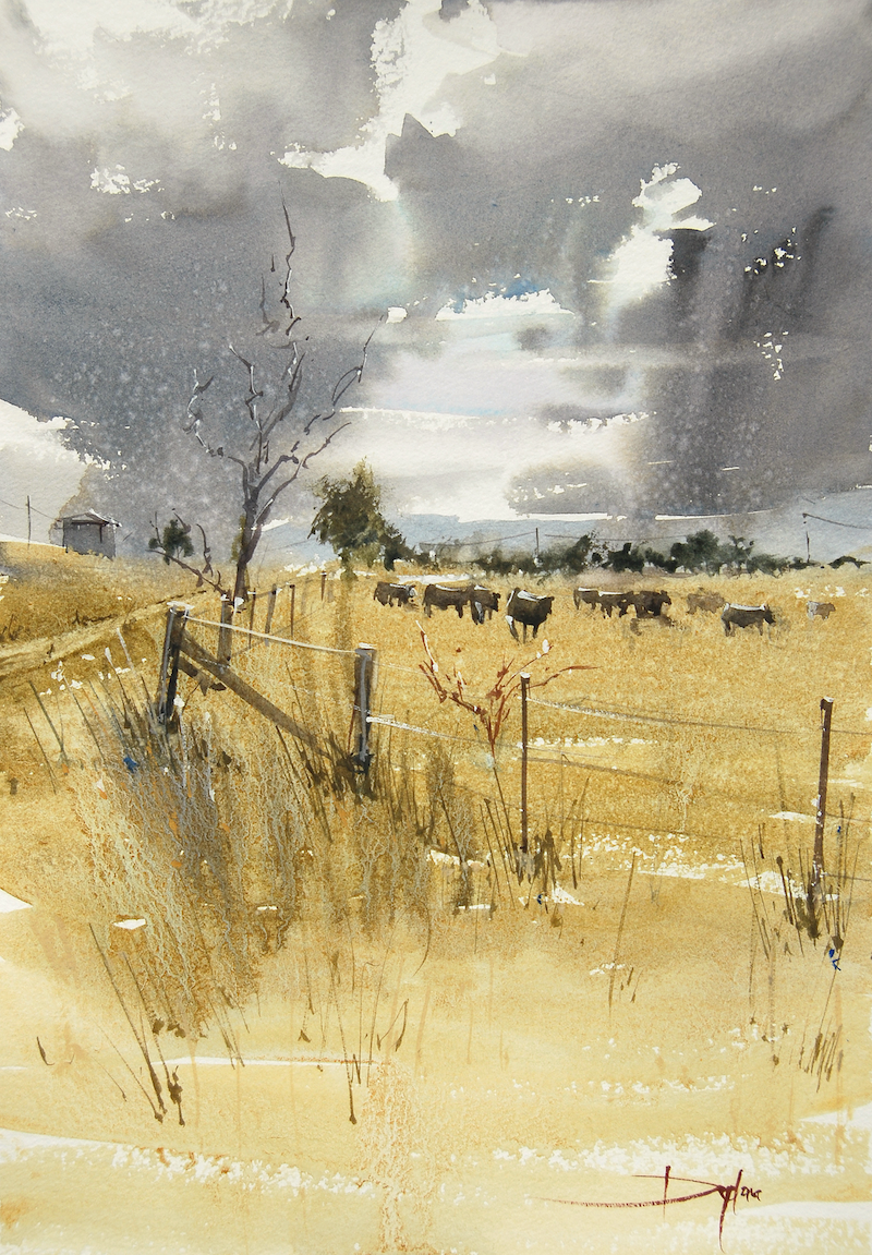 (CreativeWork) Cows Before The Storm by Dylan Shearsby. watercolour. Shop online at Bluethumb.