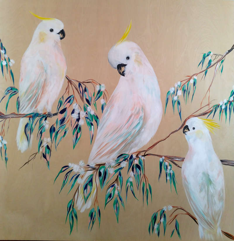 (CreativeWork) Afternoon Cockatoos In The Gum Blossoms  by Amanda Skye. acrylic-painting. Shop online at Bluethumb.