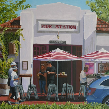 (CreativeWork) Fire Station Bar, Busselton W.A. by Bevan Griggs. Acrylic Paint. Shop online at Bluethumb.