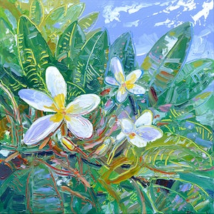 (CreativeWork) Frangipani by Joseph Villanueva. arcylic-painting. Shop online at Bluethumb.