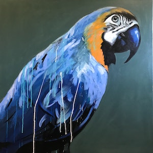 (CreativeWork) The Parrot (Green) by Amanda Cameron. arcylic-painting. Shop online at Bluethumb.