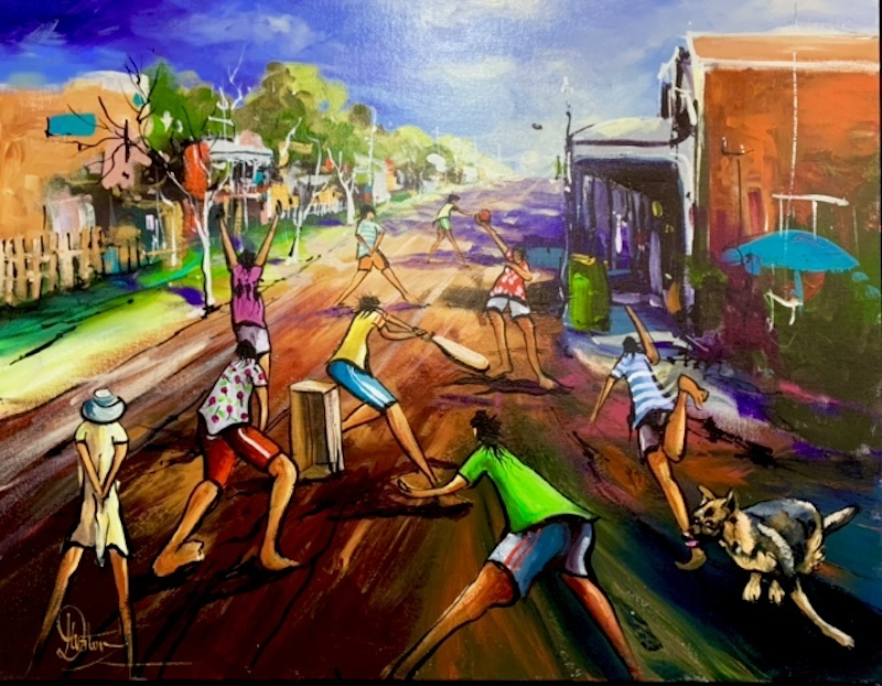 (CreativeWork) Tomorrow's Champions  by Donald James Waters OAM. arcylic-painting. Shop online at Bluethumb.