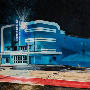 (CreativeWork) Collaroy Cinema by Rodney Black. arcylic-painting. Shop online at Bluethumb.