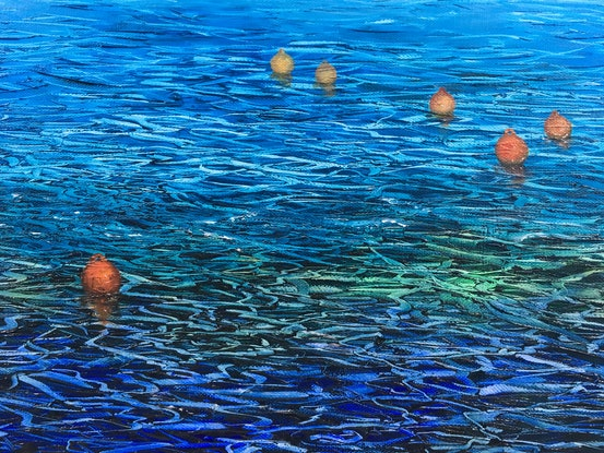 (CreativeWork) Sea Ribbons by Janet Claydon. Oil Paint. Shop online at Bluethumb.