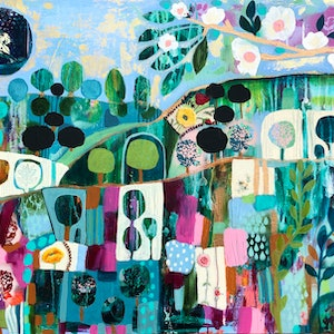 (CreativeWork) Emerald City, Large blue and green abstract  landscape with trees,  flowers and blue sky by Sandra Oost. mixed-media. Shop online at Bluethumb.
