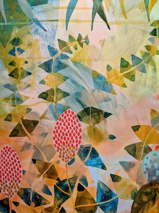 (CreativeWork) Prickly Pear in the natives by Marinka Parnham. Acrylic Paint. Shop online at Bluethumb.