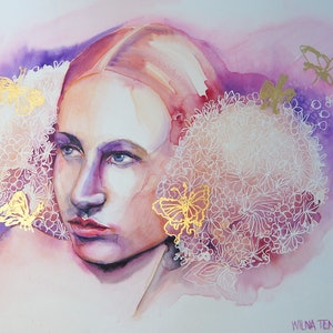 (CreativeWork) Ostara, goddess of Spring by Wilna ten Cate. watercolour. Shop online at Bluethumb.