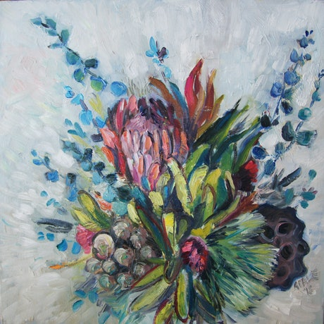(CreativeWork) Protea  by Katerina Apale. Oil Paint. Shop online at Bluethumb.