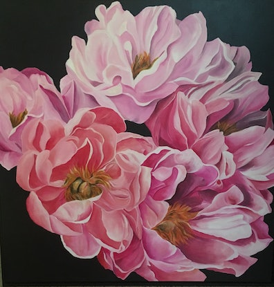 (CreativeWork) Peony Passion by Julie Christensen. Acrylic Paint. Shop online at Bluethumb.
