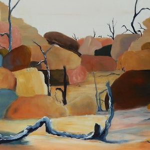 (CreativeWork) Down by the River by Doodie Herman. arcylic-painting. Shop online at Bluethumb.