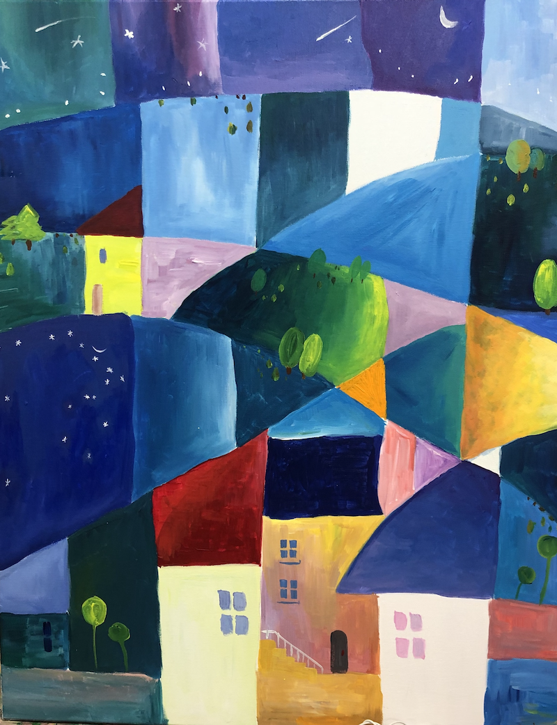(CreativeWork) Imaginary world -night by Sandy Chen. Acrylic Paint. Shop online at Bluethumb.