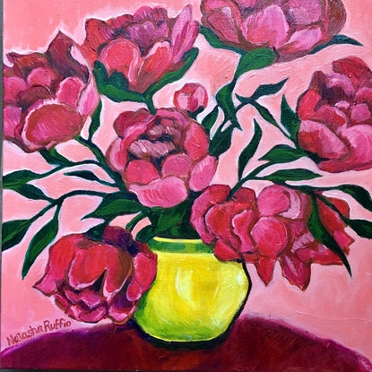 (CreativeWork) Peonies in a Yellow Vase by Natasha Ruffio. Acrylic Paint. Shop online at Bluethumb.
