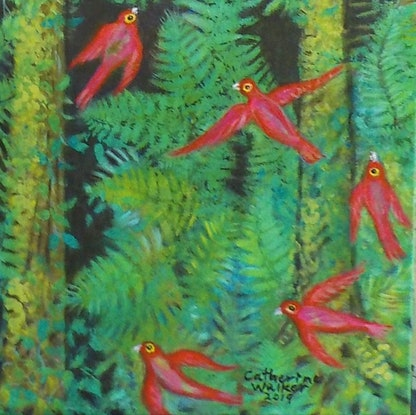 "(CreativeWork)   ""Birds in the Forest"" by Catherine Walker. Acrylic Paint. Shop online at Bluethumb."
