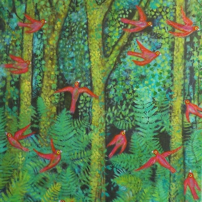 "(CreativeWork)   ""Birds in the Forest"" by Catherine Walker. acrylic-painting. Shop online at Bluethumb."