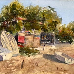 (CreativeWork) The secret boat shed by Shelly Du. watercolour. Shop online at Bluethumb.