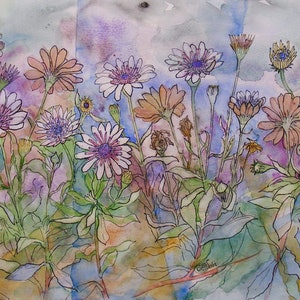 "(CreativeWork) ""AFRICAN DAISIES"" by Daniela Selir. watercolour. Shop online at Bluethumb."