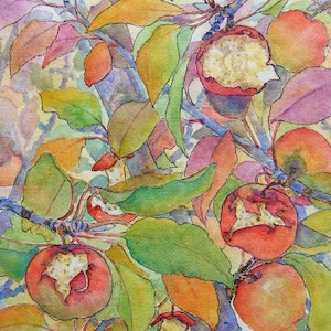 "(CreativeWork) ""AUTUMN APPLES"" by Daniela Selir. watercolour. Shop online at Bluethumb."