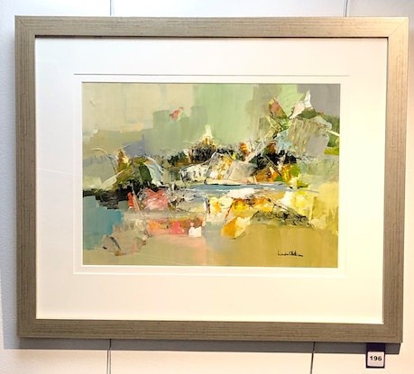 (CreativeWork)  Light and Cool Air (in champagne frame) by Linda Olstein. Acrylic. Shop online at Bluethumb.