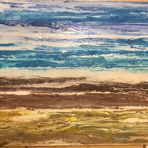 (CreativeWork) A Day at The Beach by Kylie Marc Daniel. arcylic-painting. Shop online at Bluethumb.