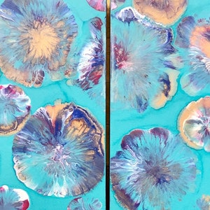 "(CreativeWork) ""Shells in paradise"" Abstract artwork on stretched canvas by Debra Ryan. mixed-media. Shop online at Bluethumb."
