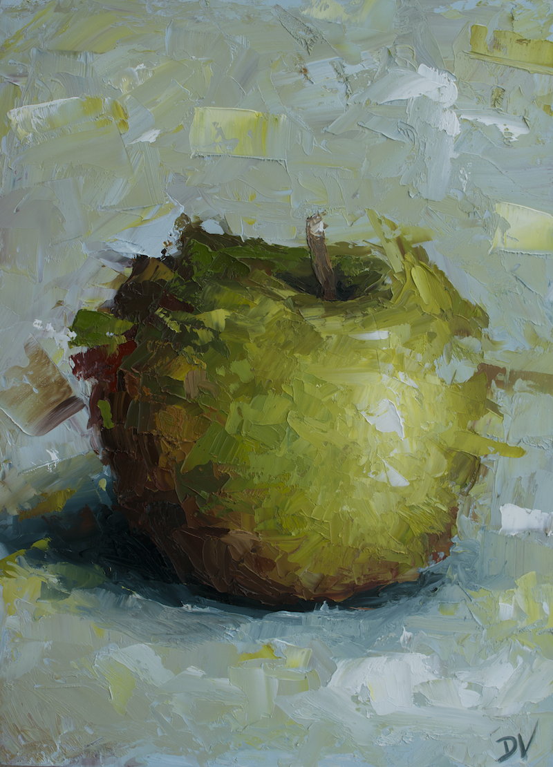 (CreativeWork) Sweet Fuji Apple  No2 by Damien Venditti. oil-painting. Shop online at Bluethumb.