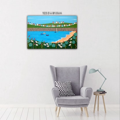 (CreativeWork) Tiny Town By The Sea by Lisa Frances Judd. Acrylic Paint. Shop online at Bluethumb.