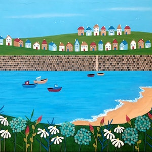 (CreativeWork) Tiny Town By The Sea by Lisa Frances Judd. arcylic-painting. Shop online at Bluethumb.