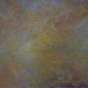 (CreativeWork) Low cloud over Hobart by GEOFF WINCKLE. oil-painting. Shop online at Bluethumb.
