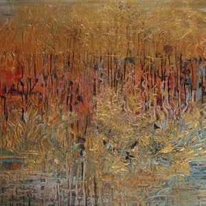 "(CreativeWork) Abstract  - Australian Outback -"" In the Heat of the Day"" by Maria Cross. mixed-media. Shop online at Bluethumb."