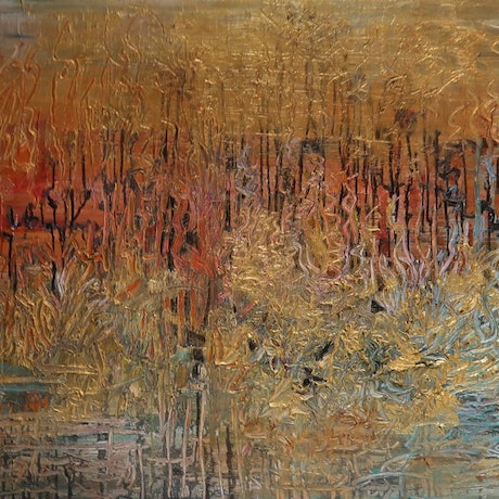 "(CreativeWork) Abstract  - Australian Outback -"" In the Heat of the Day"" by Maria Cross. Mixed Media. Shop online at Bluethumb."
