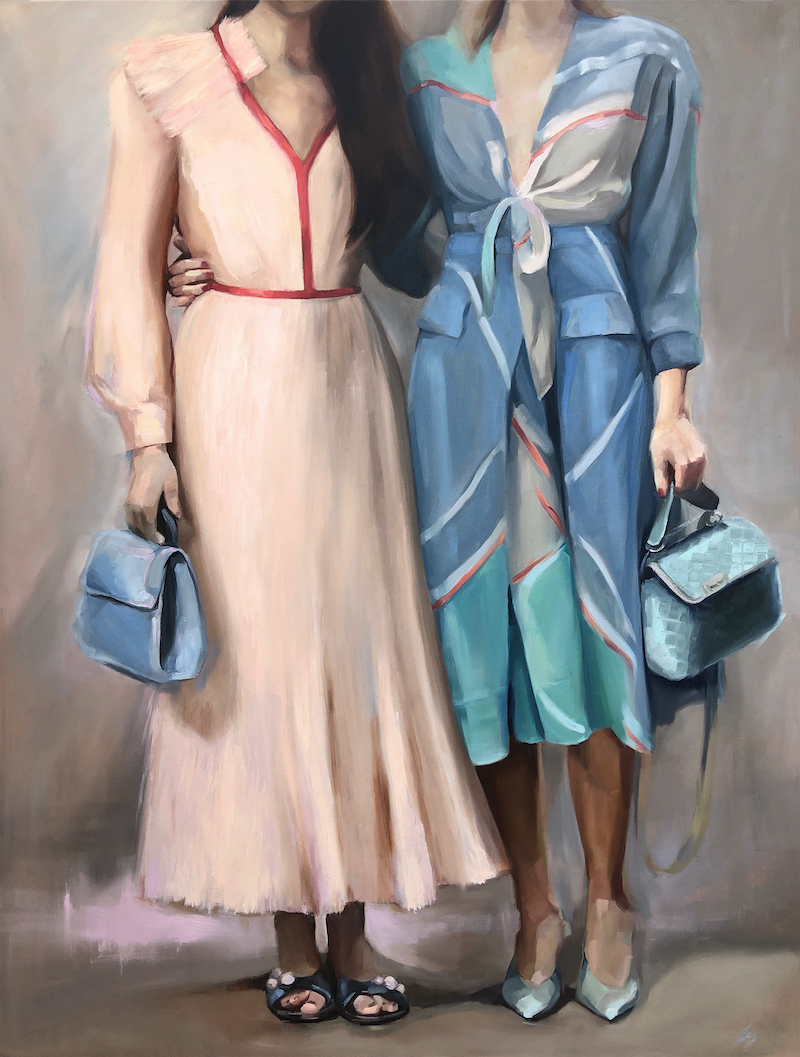 (CreativeWork) Fashion Duo by Jessica Guthrie. Oil Paint. Shop online at Bluethumb.