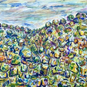 (CreativeWork) Rocky Hillside, New England, NSW by Meg Vivers. arcylic-painting. Shop online at Bluethumb.