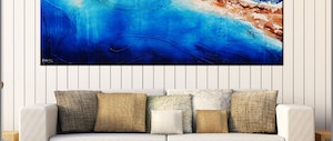 (CreativeWork) Coastal Velvet 200cm x 100cm Rust Ochre Oxide blue ocean Textured Acrylic Abstract Gloss Finish FRANKO by _Franko _. arcylic-painting. Shop online at Bluethumb.