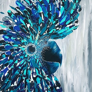 (CreativeWork) Billy - A Playful Black Cockatoo by Kat Schmitt. arcylic-painting. Shop online at Bluethumb.