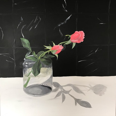 (CreativeWork) Pink roses  by Johanna Fry. Acrylic Paint. Shop online at Bluethumb.
