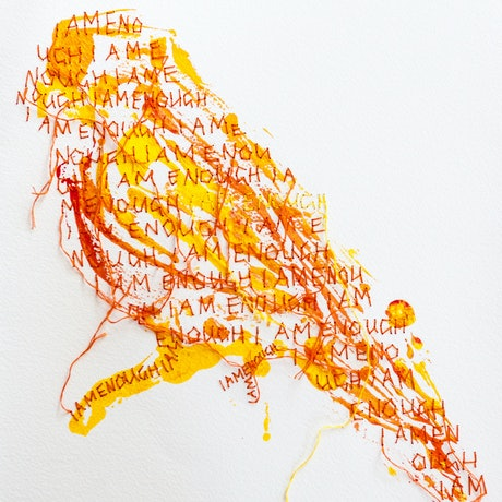 (CreativeWork) I am enough in orange (framed) by Tracy Stirzaker. Mixed Media. Shop online at Bluethumb.