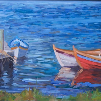 (CreativeWork) Boats at Franklin by John Braudis. Oil Paint. Shop online at Bluethumb.