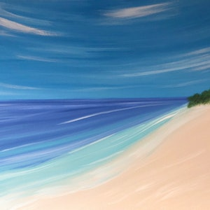 """(CreativeWork) """"Jervis Bay"""" Original beach painting on canvas by Debra Ryan. mixed-media. Shop online at Bluethumb."""