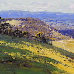 (CreativeWork) From Kanimbla to the Blue Mountains by Graham Gercken. oil-painting. Shop online at Bluethumb.