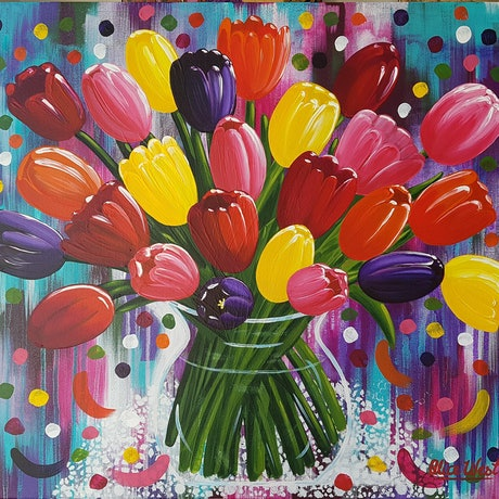 (CreativeWork) Burst Of Blooms by Alice West. Acrylic Paint. Shop online at Bluethumb.