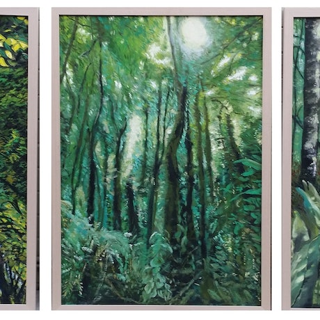 (CreativeWork) Forest Dream Trilogy by ALAN HEATHER-XIA. Oil Paint. Shop online at Bluethumb.