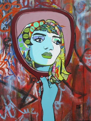 (CreativeWork) Out of the Looking Glass by Lesley Taylor. Acrylic Paint. Shop online at Bluethumb.