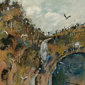 (CreativeWork) Australian landscape  - Water Fall by Susan Trudinger. arcylic-painting. Shop online at Bluethumb.