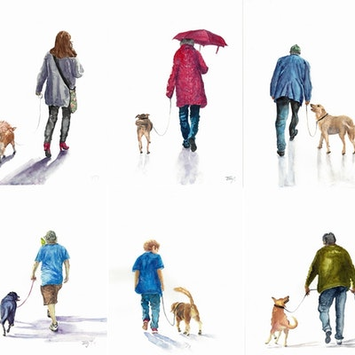 (CreativeWork) Daily Walk Series of 6 by Jing Tian. watercolour. Shop online at Bluethumb.
