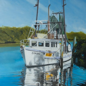 (CreativeWork) The Coraki by Rob Kennedy. oil-painting. Shop online at Bluethumb.