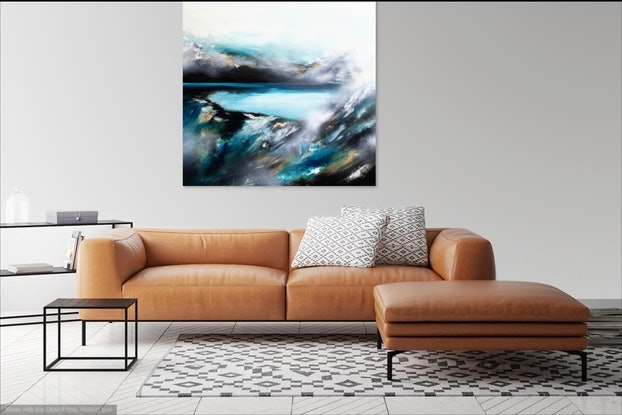 (CreativeWork) Lost Blue in the Hue  by Alice Howell. Oil Paint. Shop online at Bluethumb.