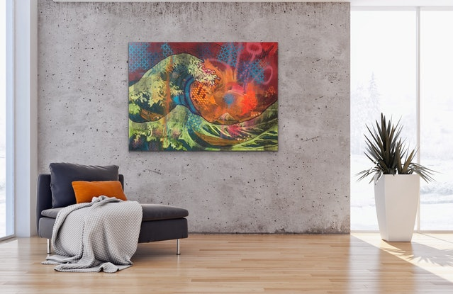 (CreativeWork) The Great Wave (Urban Version) by Leon Fernandes. Oil Paint. Shop online at Bluethumb.