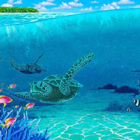 (CreativeWork) ** Turtle Proccesion of the Barrier Reef -Far North Queensland ** by David Stacey. Acrylic Paint. Shop online at Bluethumb.